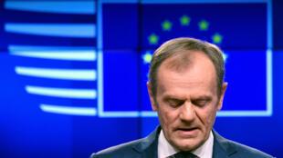 Le président du Conseil européen Donald Tusk, ce mercredi 20 mars, pendant son discours.