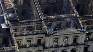 The shell of the Brazil National Museum after the fire