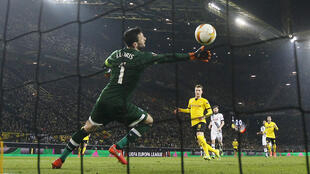 Marco Reus scores the third goal against Tottenham Hotspur in their Europa Cup match.