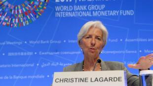Christine Lagarde, la directrice du FMI lors d'une conférence dans le cadre des réunions annuelles du FMI à Washington, le 12 octobre 2017.