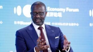 Le PDG du Groupe Credit Suisse, Tidjane Thiam, lors du Forum de la nouvelle économie à Pékin, le 21 novembre 2019.