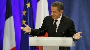 France's former president Nicolas Sarkozy attends a political rally as he campaigns for the leadership of the UMP political party. September 2014.