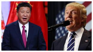 O presidente chinês Xi Jinping e o presidente eleito Donald Trump