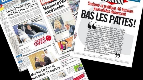 Capa dos jornais franceses Le Figaro, Libération, Ouest France e Sud Ouest desta terça-feira, 5 de maio de 2015.