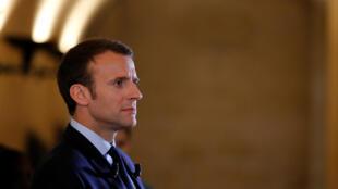 El presidente Macron en el Panteón, París, 27 de abril de 2018.