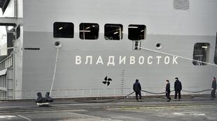 One of the Mistrals, the Vladivostok, in the Saint-Nazaire shipyard