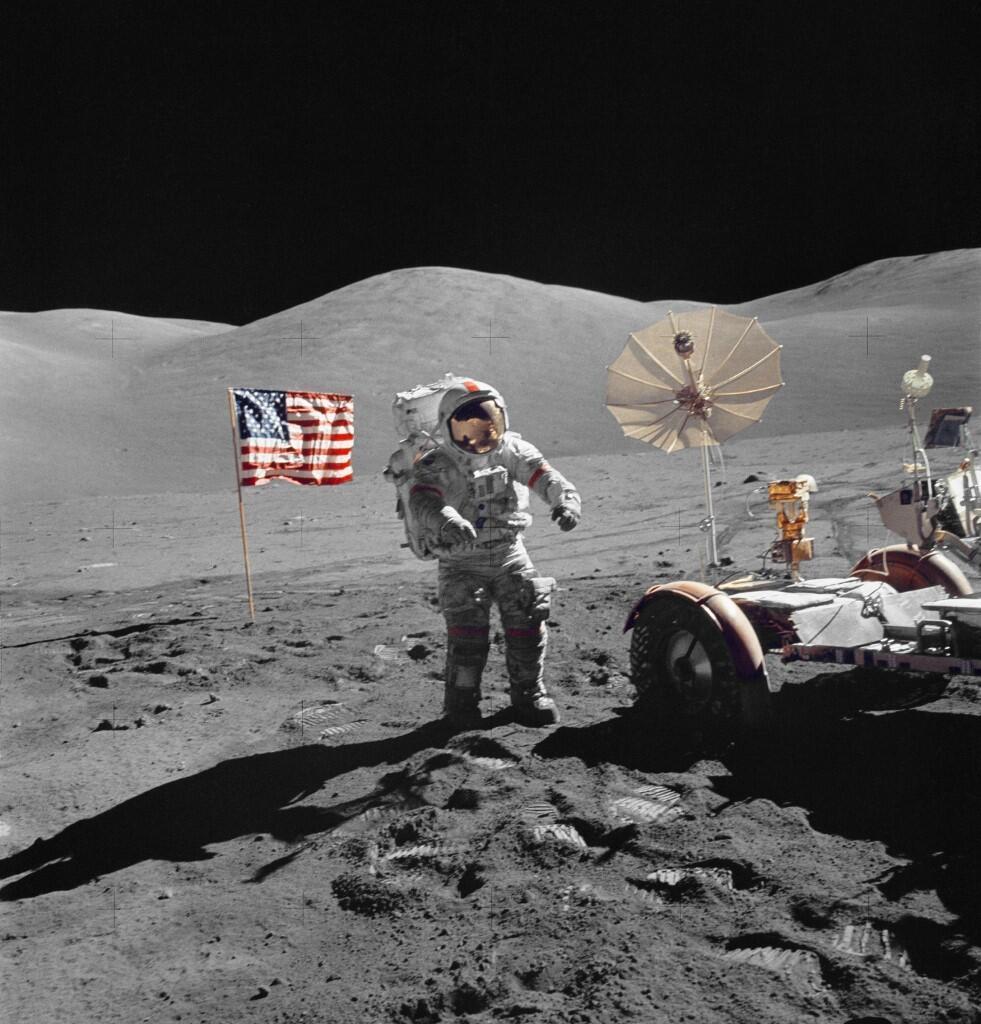 L'astronaute Eugene Cernan, le 13 décembre 1972 lors de la sixième et dernière mission d'alunissage Apollo de la Nasa. Il est le dernier homme à avoir marché sur la Lune.