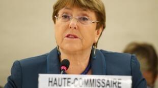 Michelle Bachelet, a alta comissária das Nações Unidas para Direitos Humanos, discursa em Genebra. Em 27 de fevereiro de 2020.