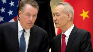 美国贸易代表莱特希泽与中国副总理刘鹤2019年 2月15日在北京