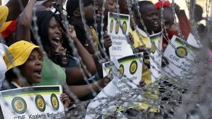 Supporters of ANC Youth League leader Julius Malema demonstrate outside the party headquarters