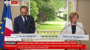 O primeiro-ministro Édouard Philippe e a ministra do Trabalho, Muriel Pénicaud, apresentaram a reforma trabalhista durante coletiva à imprensa nesta quinta-feira, 31 de agosto de 2017.