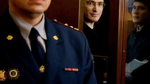 "Михаил Ходорковский в ""аквариуме"" Хамовнического суда"