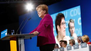 Angela Merkel na abertura do congresso da CDU, em Berlim, esta segunda-feira dia 26 de Março de 2018.