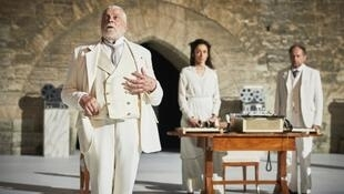 Jacques Weber plays the brutal and caring patriarch, father of Denis (Podalydès) (R) and father-in-law of Audrey (Bonnet) (C) in Pascal Rambert's 'Structure', which opened the Avignon Festival, July 4, 2019