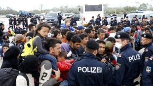 The Austrian-Hungary border at Nickelsdorf,  where 4,500 refugees massed on 14 September 2015.