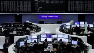 A Bolsa de Valores de Frankfurt na terça-feira, 6 de Fevereiro.