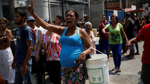 委内瑞拉加拉加斯民众抗议资料图片