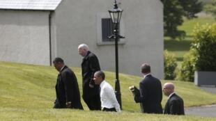 Shugaban kasar Amurka, Barack Obama a lokacin da ya isa taron kasashen G8 a Arewacin Ireland