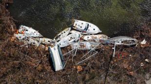 Barcos destruidos por el huracán Irma en St. John, USA, Islas Vírgenes. 16 de septiembre de 2017.