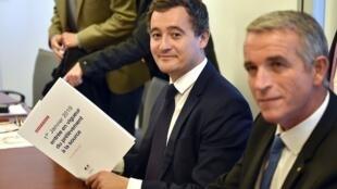Le ministre des Comptes publics Gérald Darmanin à Toulouse, dans une entreprise test du prélèvement à la source, le 13 novembre 2017.