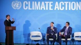 Le président français Emmanuel Macron lors de son intervention sur la sauvegarde de l'Amazonie à l'ONU. Le 23 septembre 2019.
