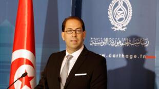 Novo premiê tunisiano Youssef Chahed, em Tunis, 3 de agosto de 2016.