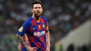 Lionel Messi (FC Barcelone), lors du match contre l'Atlético de Madrid, à Jedda en Arabie saoudite, le 9 janvier 2020.