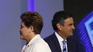 Dilma Rousseff e Aécio Neves no último debate antes do primeiro turno na rede Globo.