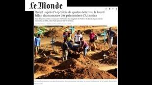 Reportagem do jornal Le Monde desta quinta-feira (1) sobre novas mortes em Altamira, PA.