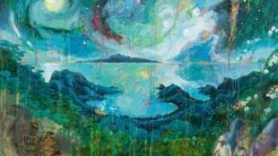 Titouanlamazou Tommo et Toby, Étude — 2018 — Atelier — Huile sur papier — 56 x 76 cm.