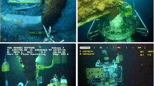 Photos show the BP oil leak on 26 May (top L), 1 June (top R), 13 July (bottom L) and 15 July (bottom R).