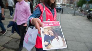 یکی ازمخالفان آزادی سقط جنین در ایرلند یک روز پیش از انجام همه پرسی