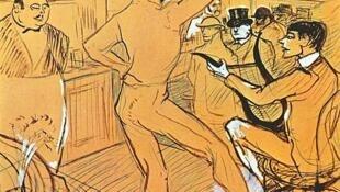 Шоколад танцует в баре, Henri de Toulouse-Lautrec (1864-1901). Chocolat dansant dans un bar.