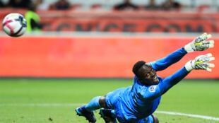 Le gardien de but Edouard Mendy (Reims), lors du match contre Nice, le 11 août 2018.