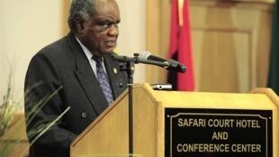 Le président namibien Hifikepunye Pohamba lors de son discours à l'occasion du 30e anniversaire de la SDAC, le 16 août 2010