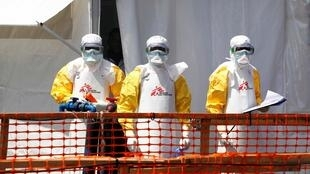Des médecins luttant contre Ebola, photographiés le 4 août 2019 à Goma, grande ville de l'est de la République démocratique du Congo.