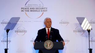 Phó tổng thống Mỹ Mike Pence phát biểu tại Hội Nghị về Hòa Bình và An Ninh Trung Đông, Vacxava, 14/02/2019.