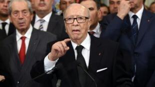 Beji Caïd Essebsi, président de la République tunisienne et fondateur du parti laïc Nidaa Tounes.