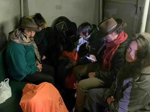 The six tourists from Argentina, Brazil, Chile and France who hid inside the Temple of the Sun so they could remain overnight at Machu Picchu