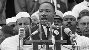 Martin Luther King giving his historic 'I have a dream' speech in Washington in August 1963