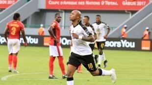 Le Ghanéen André Ayew buteur face à l'Ouganda, lors de la CAN 2017.