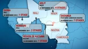 Mapa dos reféns franceses espalhados pelo Saara Ocidental