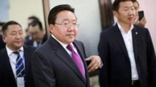 Mongolia's President and presidential candidate for re-election Tsakhia Elbegdorj