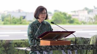 Ảnh minh họa: Tổng thống Thái Anh Văn phát biểu tại một cuộc tập trận ở Chương Hóa ngày 28/05/2019 tại Đài Loan, mô phỏng một cuộc xâm lăng của Trung Quốc.