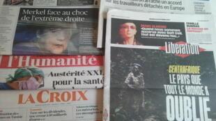 Primeiras páginas dos jornais franceses de 24 de outubro de 2017