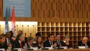 Ollanta Humala e Irina Bokova durante la sesión especial sobre el Qhapaq Ñan en la UNESCO.