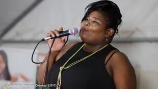 Samantha Kureya performing at the third anniversary of Bustop TV.