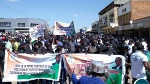 Zambian Mine Workers stage demonstration in support of government moves to nationalize strategic copper mines in Chingola and Chililabombwe