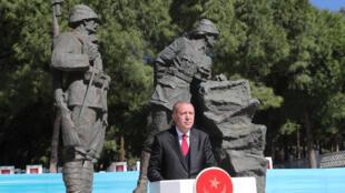 Le président turc Recep Tayyip Erdogan lors d'une cérémonie d'anniversaire des 104 ans de la bataille de Canakkale, le 18 mars 2019.
