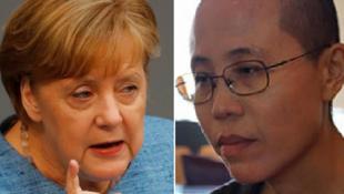 Thủ tướng Đức Angela Merkel (T), người có nhiều nỗ lực vận động chính quyền Trung Quốc để bà Lưu Hà được xuất ngoại. Ảnh bên phải là nhà thơ Lưu Hà.